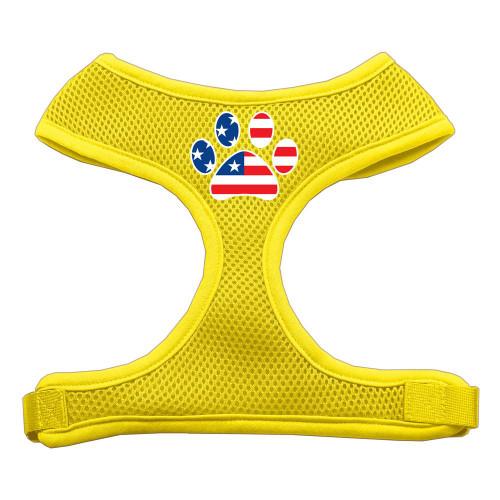 Paw Flag Usa Screen Print Soft Mesh Harness Yellow Small