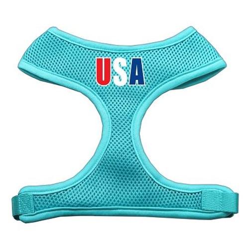 Usa Star Screen Print Soft Mesh Harness Aqua Medium