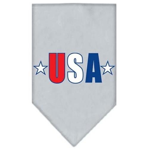 Usa Star Screen Print Bandana Grey Large