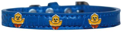 Chickadee Widget Croc Dog Collar Blue Size 18