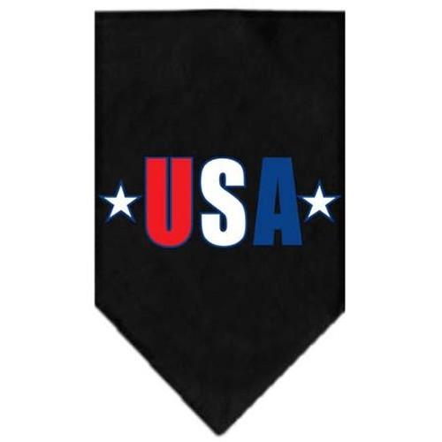 Usa Star Screen Print Bandana Black Large