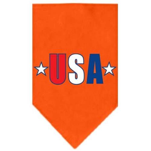 Usa Star Screen Print Bandana Orange Large