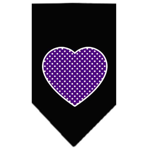 Purple Swiss Dot Heart Screen Print Bandana Black Small