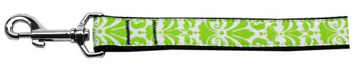 Damask Nylon Dog Leash 4 Foot Lime Green