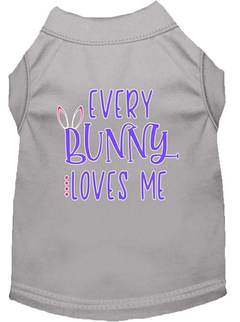 Every Bunny Loves Me Screen Print Dog Shirt Grey Xs (8)