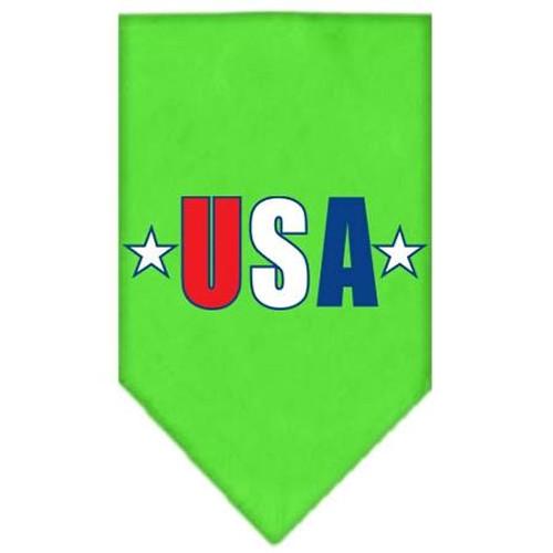 Usa Star Screen Print Bandana Lime Green Large