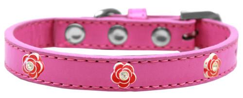 Red Rose Widget Dog Collar Bright Pink Size 18