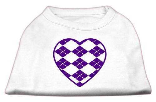 Argyle Heart Purple Screen Print Shirt White M (12)