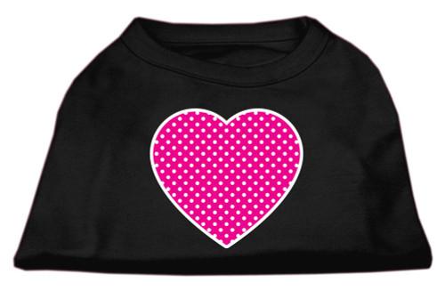 Pink Swiss Dot Heart Screen Print Shirt Black Xs (8)