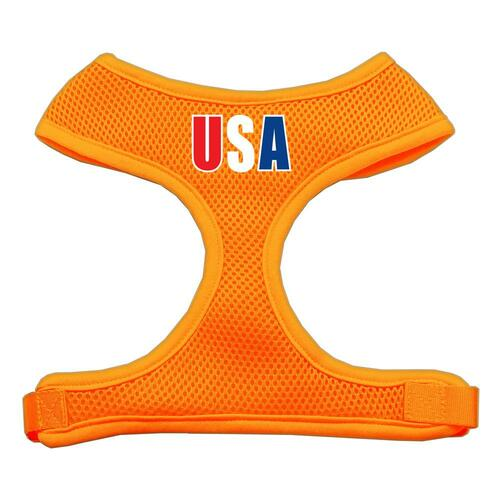Usa Star Screen Print Soft Mesh Harness Orange Medium