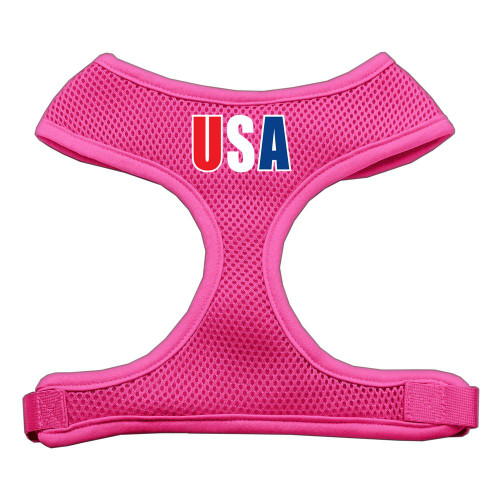 Usa Star Screen Print Soft Mesh Harness Pink Medium