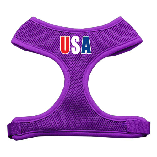 Usa Star Screen Print Soft Mesh Harness Purple Medium