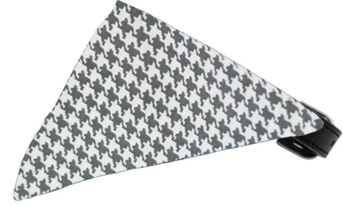Grey Houndstooth Bandana Pet Collar Black Size 18