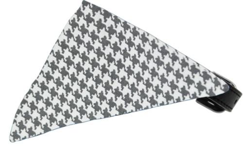 Grey Houndstooth Bandana Pet Collar Black Size 10