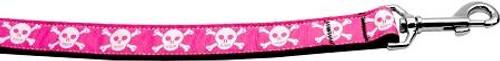 Pink Skulls 1 Inch Wide 6ft Long Leash
