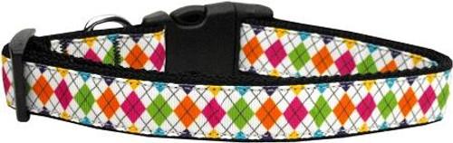 Colorful Argyle Ribbon Dog Collars Large