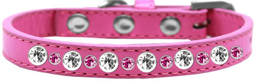 Posh Jeweled Dog Collar Bright Pink Size 16
