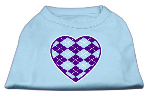 Argyle Heart Purple Screen Print Shirt Baby Blue Lg (14)