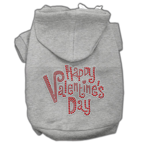 Happy Valentines Day Rhinestone Hoodies Grey Xxxl(20)