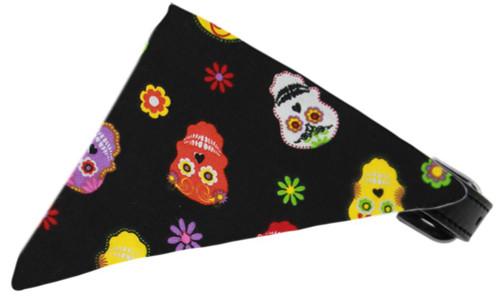 Dia De Los Muertos Bandana Pet Collar Black Size 20