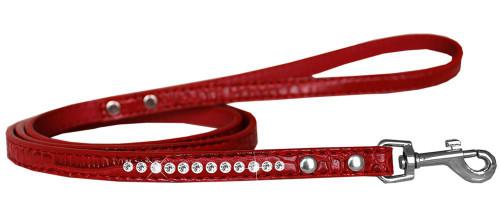 Clear Jewel Croc Leash Red 1/2'' Wide X 4' Long