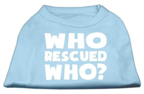 Who Rescued Who Screen Print Shirt Baby Blue Xs (8)
