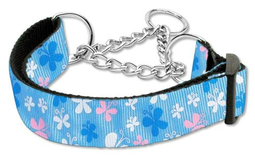 Butterfly Nylon Ribbon Collar Martingale Blue Medium