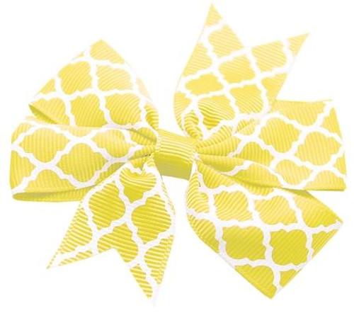 Hair Bow Quatrefoil French Barrette Yellow
