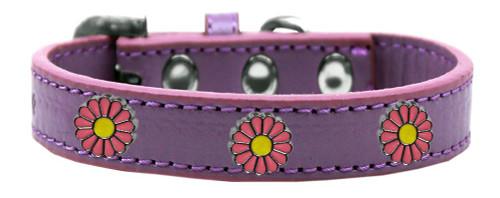 Pink Daisy Widget Dog Collar Lavender Size 16