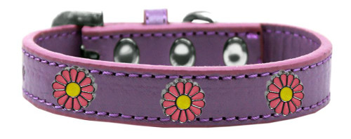 Pink Daisy Widget Dog Collar Lavender Size 18