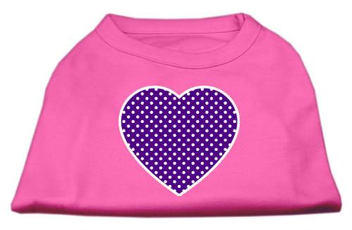 Purple Swiss Dot Heart Screen Print Shirt Bright Pink Med (12)