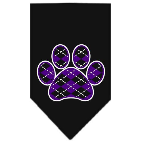 Argyle Paw Purple Screen Print Bandana Black Large