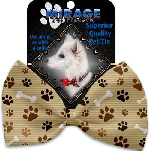 Mocha Paws And Bones Pet Bow Tie