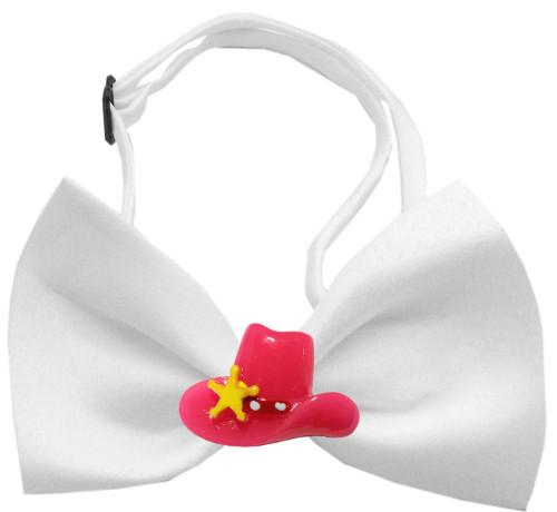 Pink Cowboy Hat Chipper White Bow Tie