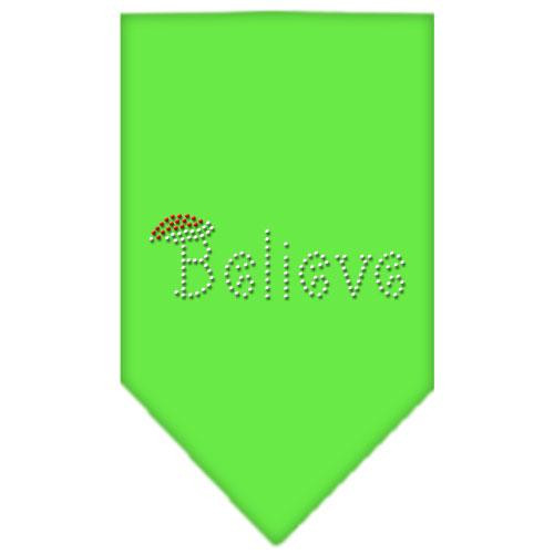 Believe Rhinestone Bandana Lime Green Large
