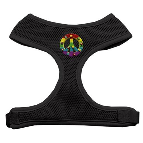 Rainbow Peace Sign Chipper Black Harness Small