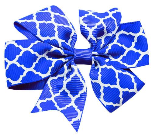 Hair Bow Quatrefoil Alligator Clip Blue