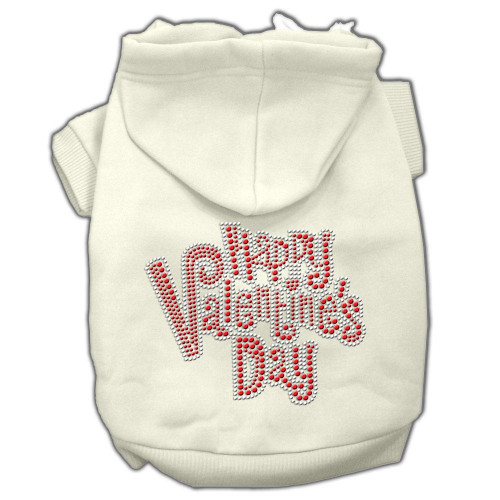 Happy Valentines Day Rhinestone Hoodies Cream S (10)