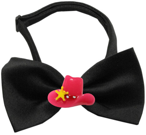 Pink Cowboy Hat Chipper Black Bow Tie