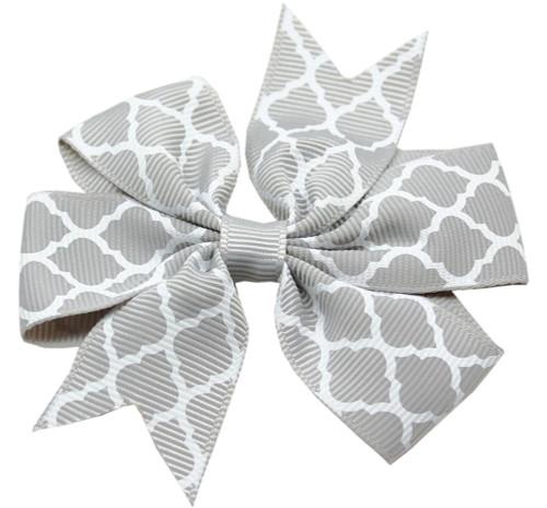 Hair Bow Quatrefoil French Barrette Grey