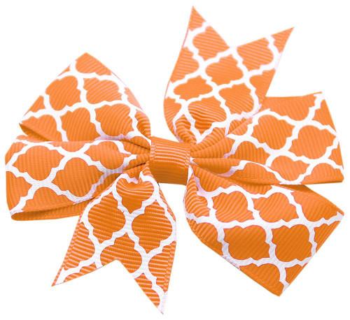 Hair Bow Quatrefoil Alligator Clip Orange