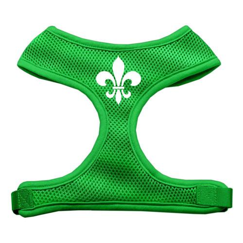 Fleur De Lis Design Soft Mesh Harnesses Emerald Green Medium