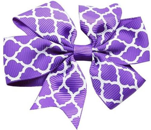 Hair Bow Quatrefoil Alligator Clip Purple