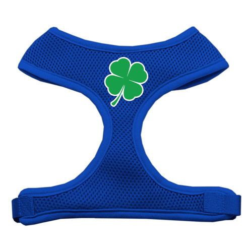 Shamrock Screen Print Soft Mesh Harness Blue Large