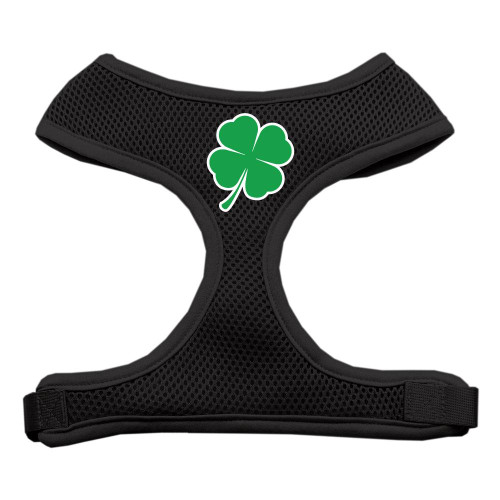 Shamrock Screen Print Soft Mesh Harness Black Large