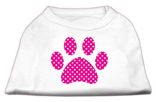 Pink Swiss Dot Paw Screen Print Shirt White M (12)