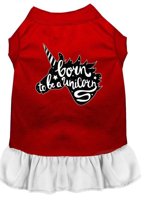 Born To Be A Unicorn Screen Print Dog Dress Red With White Xxl (18)