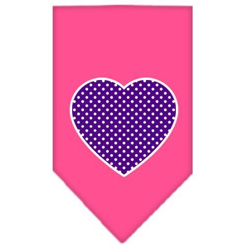 Purple Swiss Dot Heart Screen Print Bandana Bright Pink Small