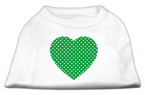 Green Swiss Dot Heart Screen Print Shirt White M (12)