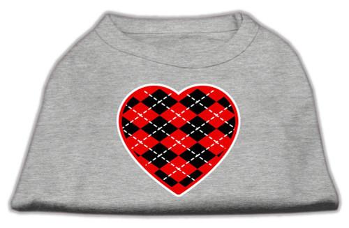 Argyle Heart Red Screen Print Shirt Grey Xs (8)